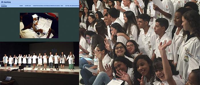 Formatura dos jovens doutores no Portal da Prefeitura de Santos.